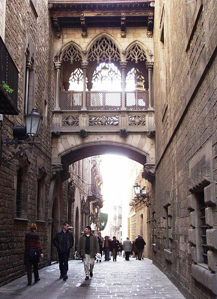 Barrio Gottico or Barri Gotic, the centre of old town in Barcelona