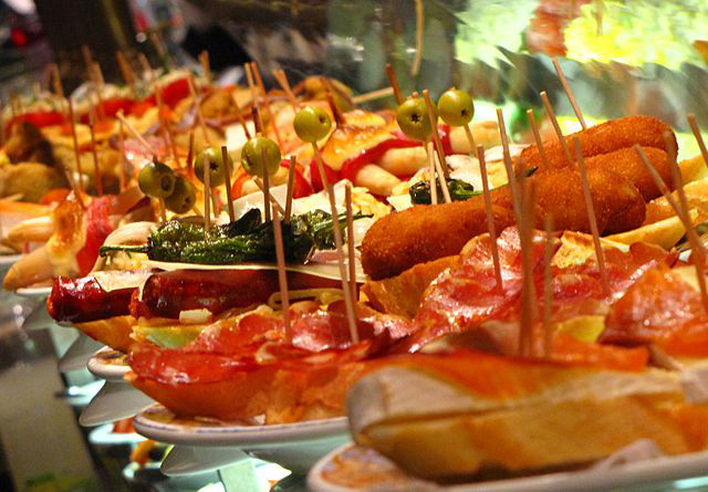 Wonderful varieties of Tapas on display.