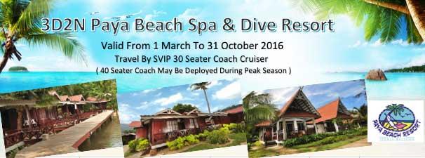 3d2n Tioman Paya Beach Spa Dive Resort From Apple World Travel