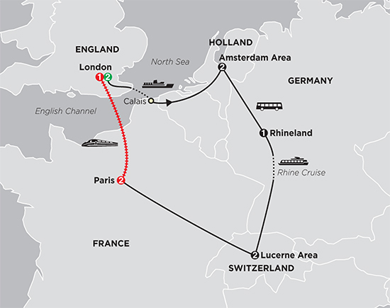Map Of France Holland And Germany.10d 9n A Taste Of Europe England Holland Germany Switzerland France From C E Holidays